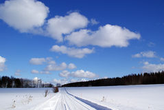 Beautiful Fair Weather Sky. Small fair weather cumulus clouds on the beautiful blue sky over snow covered plains. Photographed in Salo, Finland on March 13, 2010 Royalty Free Stock Photos