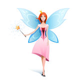 Beautiful fairy. Isolated on white holding a magic-wand Stock Photography