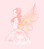 Beautiful fairy. Floral background with a beautiful fairy Stock Photography