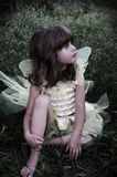 Beautiful fairy. A beautiful young girl sitting in the grass in a fairy costume,slight color desaturation for mystical look,soft focus and vignetting Royalty Free Stock Image