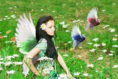 Beautiful fairy. Surrounded by birds and flowers Stock Photos