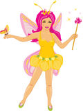 Beautiful fairy with a butterfly. Illustration Stock Photos