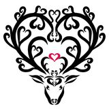 Beautiful fairy deer with hearts and flowers on horns.  Stock Image