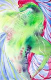 Beautiful fairy dragon. Watercolor illustration on multicolor background stock illustration