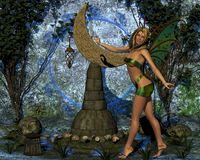Beautiful fairy with fairy. Beautiful fairy with the moon on a pedestal Royalty Free Stock Images
