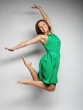 Beautiful fairy flying girl in green dress Royalty Free Stock Photography