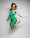 Beautiful fairy flying girl in green dress Royalty Free Stock Photos