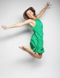 Beautiful fairy flying girl in green dress Stock Images