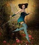 Beautiful Fairy Girl in an Enchanting Forest. A beautiful fairy girl in an enchanting hidden forest surrounded by butterflies, 3d render painting stock illustration