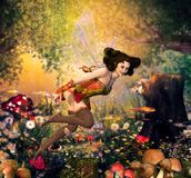 Beautiful Fairy Girl Flying through an Enchanting Fantasy Forest. A beautiful fairy girl flying through an enchanting hidden fantasy forest surrounded by stock illustration