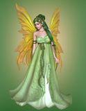 Beautiful Fairy. Beautiful Girl - fairy in a green dress with wings Stock Image