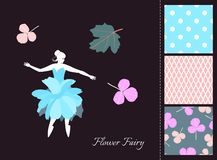 Beautiful fairy girl in skirt - flower. Card and set of seamless patterns in summer colors. Fashion design for clothing. Vector illustration stock illustration
