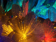 Beautiful fairy glowing flowers. Abstract color background of fairytale glowing flowers macro Stock Images