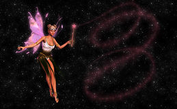 Beautiful Fairy With Magic Wand Illustration. An angelic fairy with a magic wand in a magical moment Royalty Free Stock Image