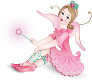 Beautiful Fairy with magic wand. Vector illustration of a Beautiful winged Fairy with magic wand stock illustration
