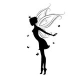Beautiful fairy. Silhouette  She dancing with butterfly , illustration on a white background Stock Image