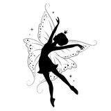 Beautiful fairy. Silhouette of beautiful fairy. She is dancing. Hand drawn, isolated on white background Stock Images