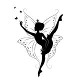 Beautiful fairy. Silhouette of beautiful fairy. Hand drawn, isolated on white background Royalty Free Stock Photos