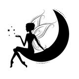 Beautiful fairy. Silhouette.  She sitting on the moon, isolated on a white background Stock Photos