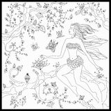 Beautiful fairy sitting on the magic tree. Coloring book anti stress for adults. Vector illustration. Black and white in zentangle vector illustration