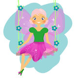 Beautiful fairy sitting on swing. Winged elf princess. Cartoon style Royalty Free Stock Image