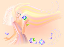 Beautiful fairy smells the flower. Vector image. Scale to any size without loss of resolution Royalty Free Stock Photos