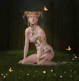 Beautiful Fairy with tattoes Stock Photo
