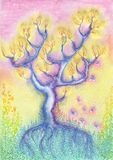 A beautiful fairy tree with roots and leaves. royalty free illustration