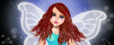 Fairy in the rain. Beautiful fairy under the rain illustrations background stock illustration