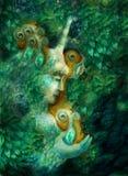 Beautiful fairy unicorn creature with emerald leaves Stock Image