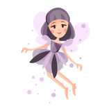 Beautiful fairy with wings, long hair and dress in lavender colors flying surrounded by sparks  Illustration Stock Image