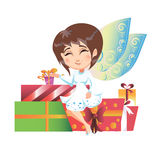 Beautiful fairy with wings sitting on gifts Stock Images