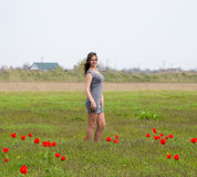 Beautiful fairy young girl in a field among the flowers of tulips. Portrait of a girl on a background of red flowers and a green f Stock Images