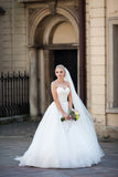 Beautiful fairytale blonde bride posing with bouquet in old ital Stock Photo