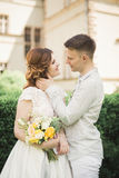 Beautiful fairytale newlywed couple hugging near old medieval castle.  Stock Images