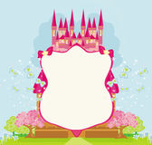 Beautiful fairytale pink castle frame Royalty Free Stock Photo