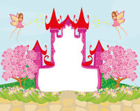 Beautiful fairytale pink castle frame Stock Images