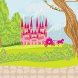 Beautiful fairytale pink castle Stock Image