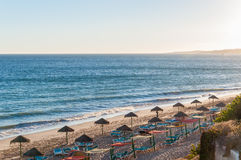 Beautiful Falesia Beach in Portugal at sunset Royalty Free Stock Images