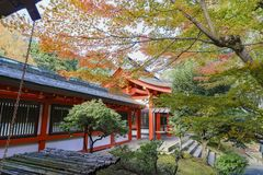 Beautiful fall color and Omi Jingu stock photos