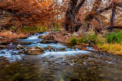 Beautiful Fall Foliage and Silky Waterfalls on the Guadalupe River, Texas. Stock Photos