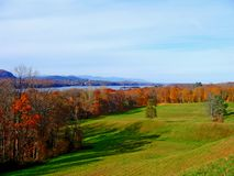 Beautiful fall on the Hudson river. Picture of the Hudson river bank in fall Stock Images