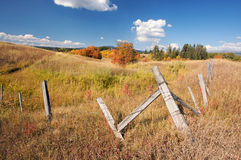 Beautiful Fall Landscape with Rustic Fence Royalty Free Stock Photography