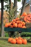 Beautiful Fall scene of pumpkins on wagon Royalty Free Stock Photo