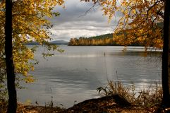 Beautiful fall scenics. Colourful autumn, forest, leaves and lake in Kazakh Royalty Free Stock Photos