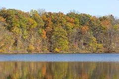Beautiful fall woods reflects across lake Royalty Free Stock Photography