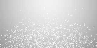 Beautiful falling snow Christmas background. Subtl. E flying snow flakes and stars on light grey background. Astonishing winter silver snowflake overlay template stock illustration