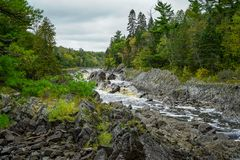 Beautiful falls of the St. Louis River at Jay Cooke State Park in Minnesota royalty free stock photos