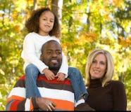 A beautiful family. A multi racial family enjoying the park Royalty Free Stock Photo