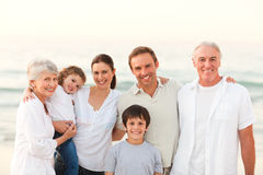 Beautiful family at the beach Royalty Free Stock Photo